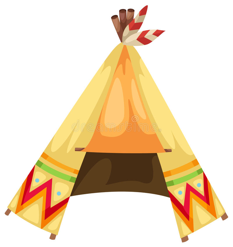 Tecknad filmindiertepee royaltyfri illustrationer