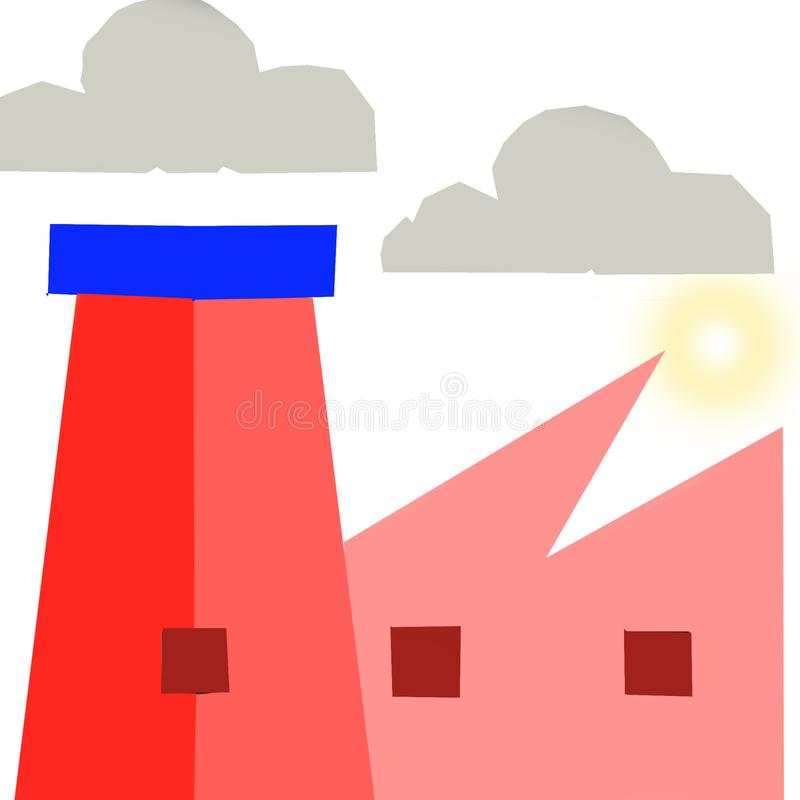 Tecknad filmindustribyggnad Stor byggnad elektricitet stock illustrationer