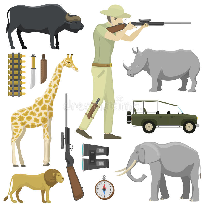 Tecknad filmjägare som siktar den gevärafrica hagelgeväret med kompasset, gevär, kikare och jeepbil och utforskarejaktjakt royaltyfri illustrationer