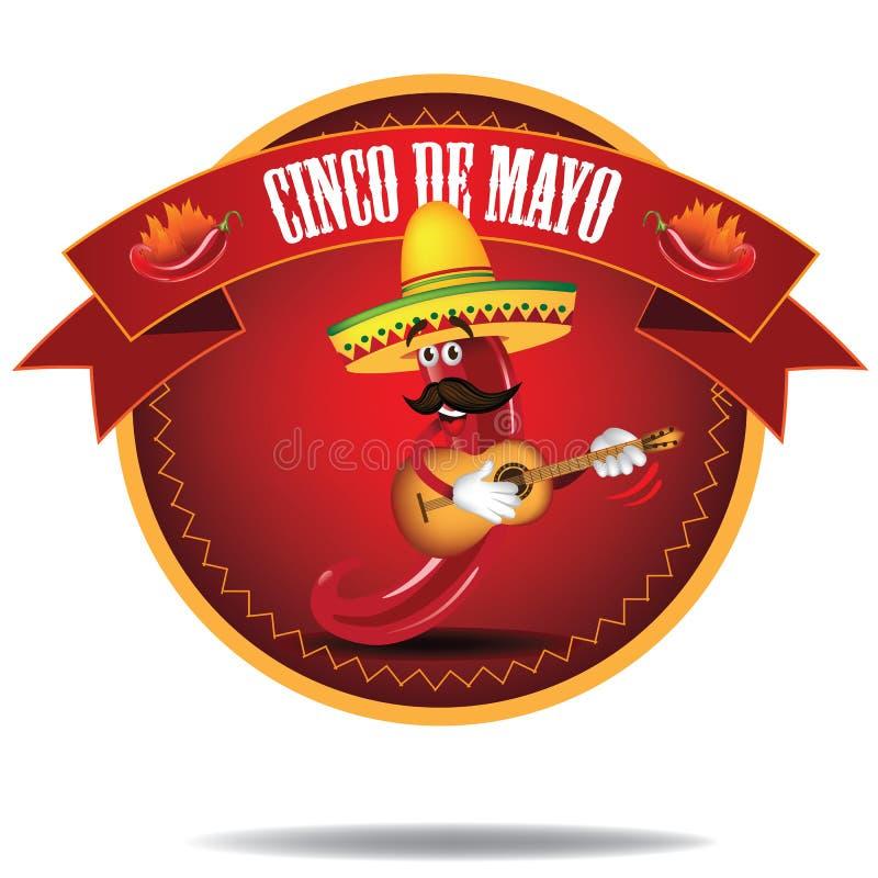 Tecknad filmJalapeno Cinco De Mayo Icon stock illustrationer