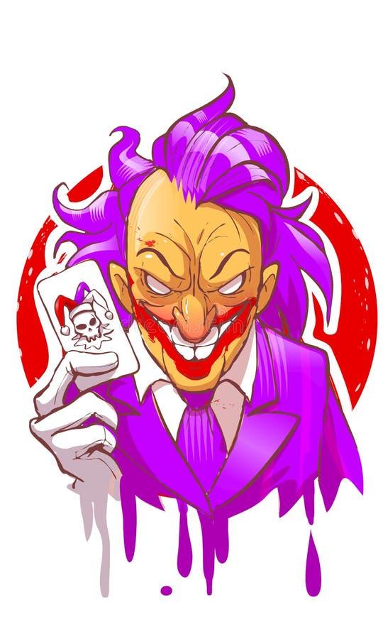 Tecknad filmjokertecken som ler rymma illustrationen för vektor för handskar för violett hår för dräkt för lekkort den vita stock illustrationer