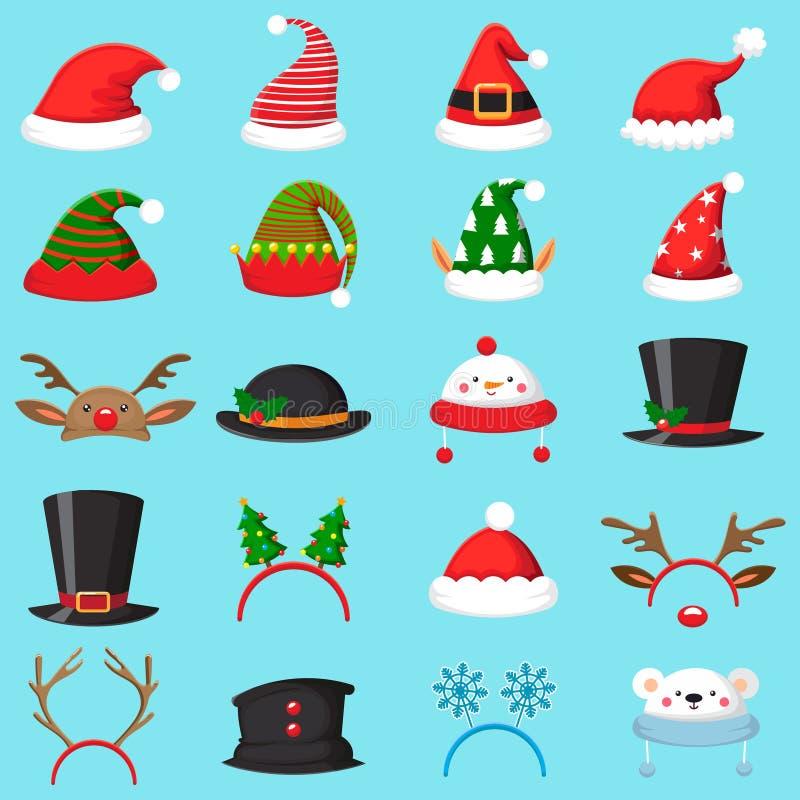 tecknad filmjulhatt Olika hattar för Xmas, vintermaskeradmaskeringar Älvaöron, hjorthorn och snögubbemaskeringsvektorn ställde in stock illustrationer