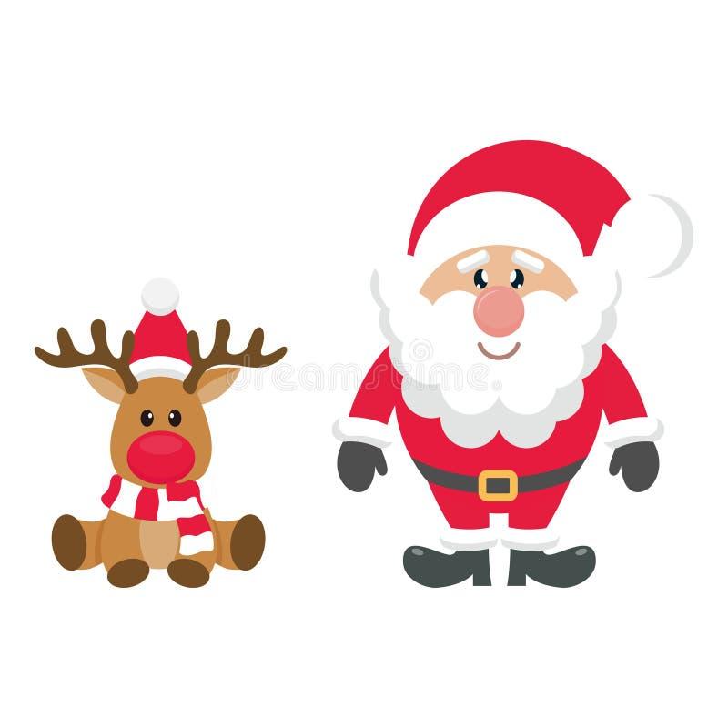 Tecknad filmjulhjortar med Santa Claus royaltyfri illustrationer