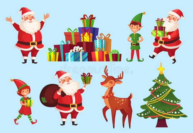 Tecknad filmjultecken Xmas-träd med Santa Claus gåva-, Santas hjälpredaälvor och vektorn för hjortar för vinterferier stock illustrationer