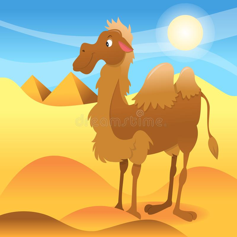 Tecknad filmkamel i Sahara Dessert royaltyfri illustrationer