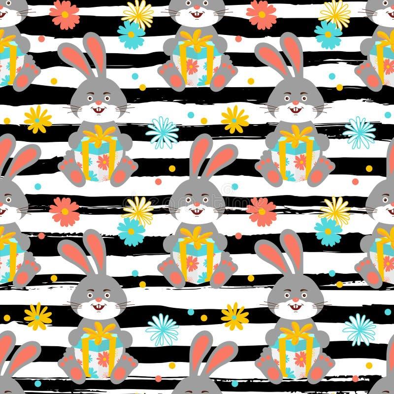 Tecknad filmkaninmodellen, gullig kanin rymmer en gåvamodell sömlös Lycklig haretapet, all moderiktig randig bakgrund vektor illustrationer
