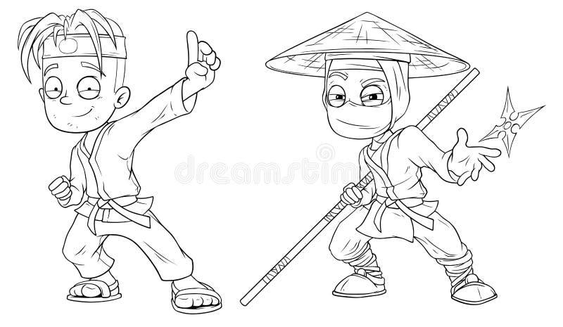 Tecknad filmkaratepojken och ninjateckenvektorn ställde in vektor illustrationer