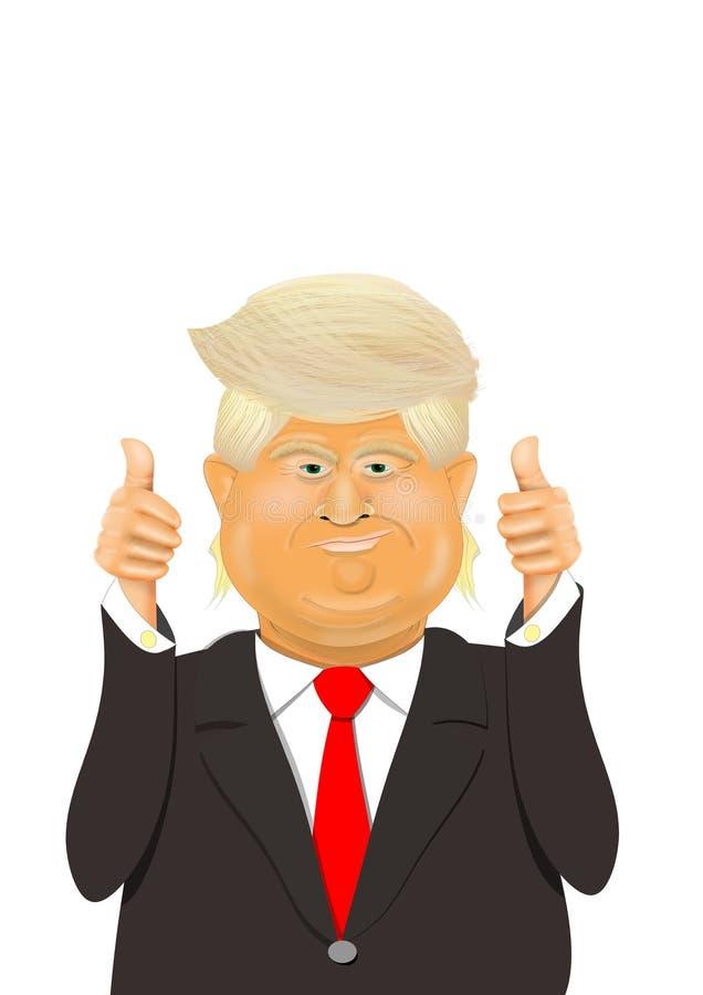 Tecknad filmkarikatyr av presidenten Donald Trump vektor illustrationer
