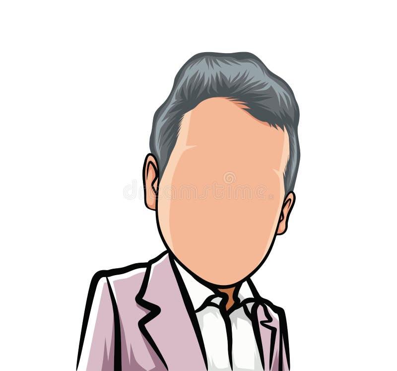 Tecknad filmkarikatyr stort huvud, avatar stock illustrationer