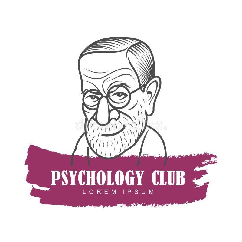 Tecknad filmkarikatyrstående av Sigmund Freud vektor illustrationer