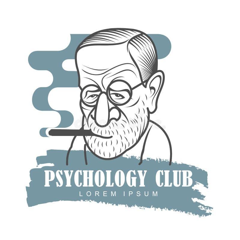 Tecknad filmkarikatyrstående av Sigmund Freud royaltyfri illustrationer
