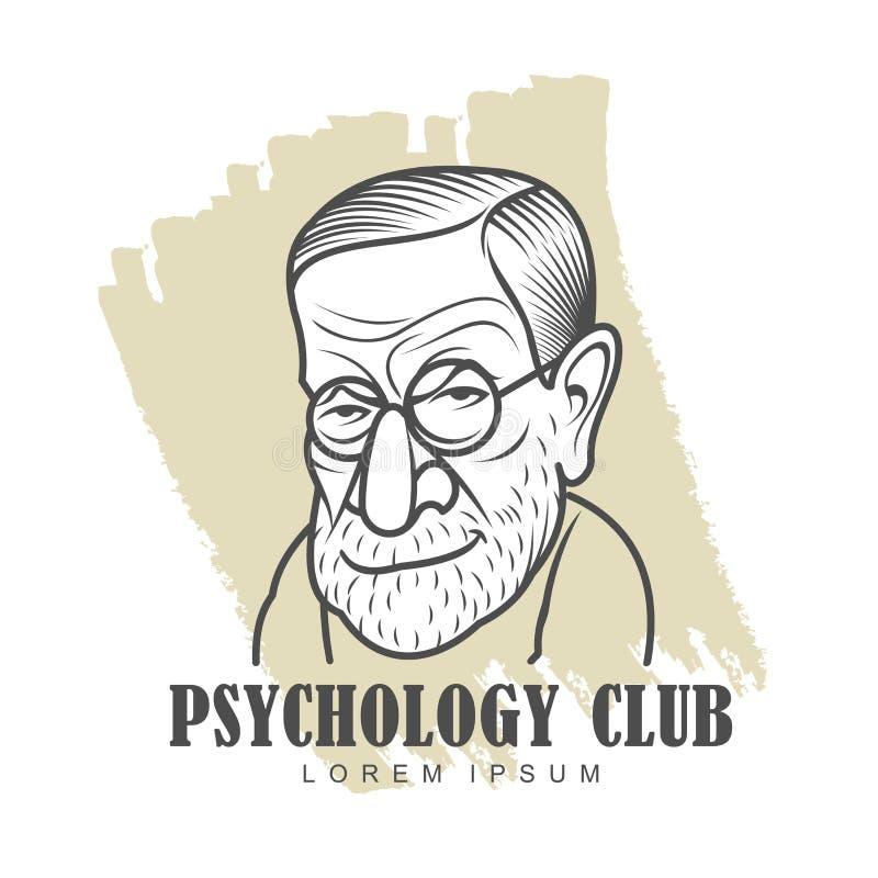 Tecknad filmkarikatyrstående av Sigmund Freud stock illustrationer