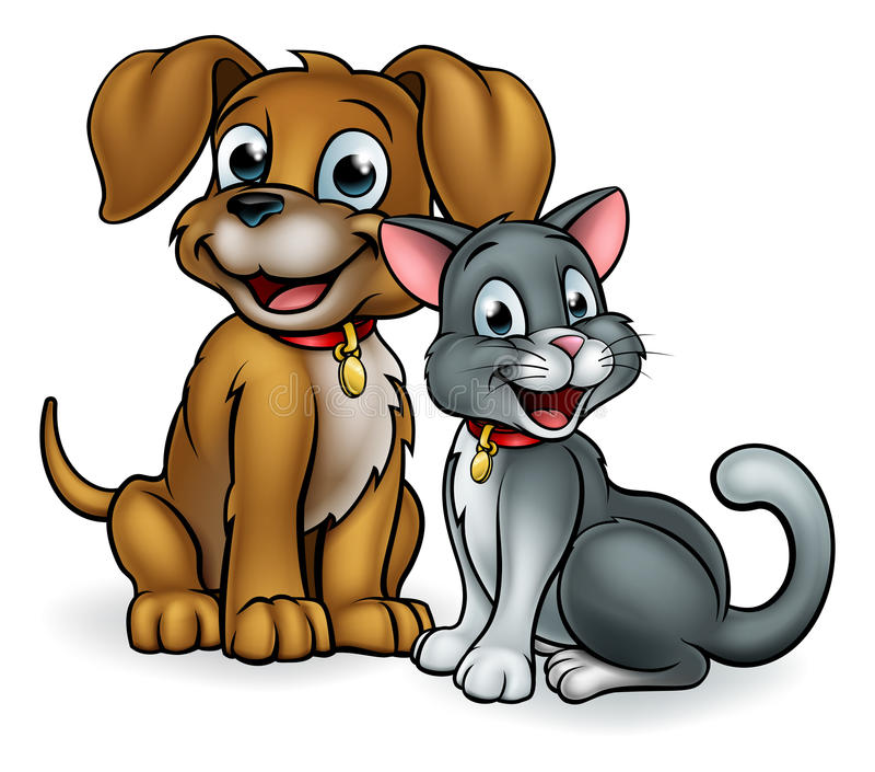 Tecknad filmkatt- och hundhusdjur royaltyfri illustrationer