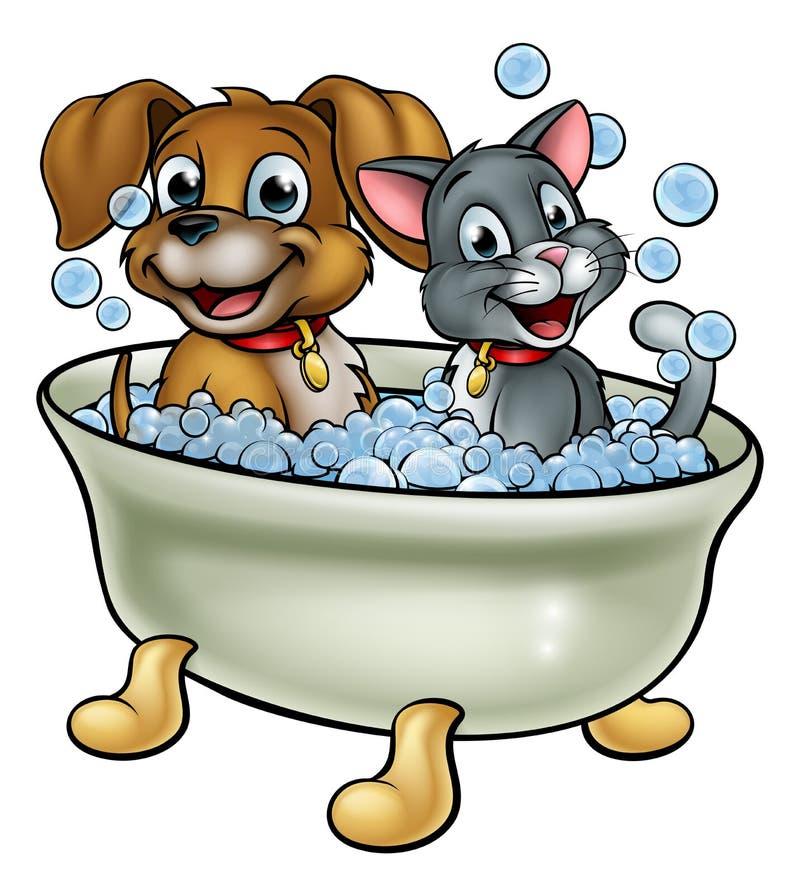Tecknad filmkatt- och hundtvagning i bad royaltyfri illustrationer