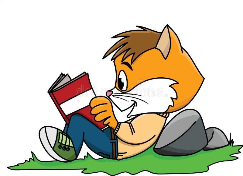 Tecknad filmkatt som läser en bok som ligger på gräsvektor royaltyfri illustrationer