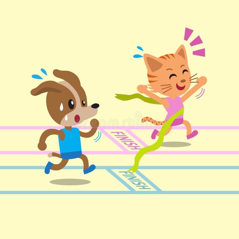 Tecknad filmkatt som segrar ett lopp för hund stock illustrationer