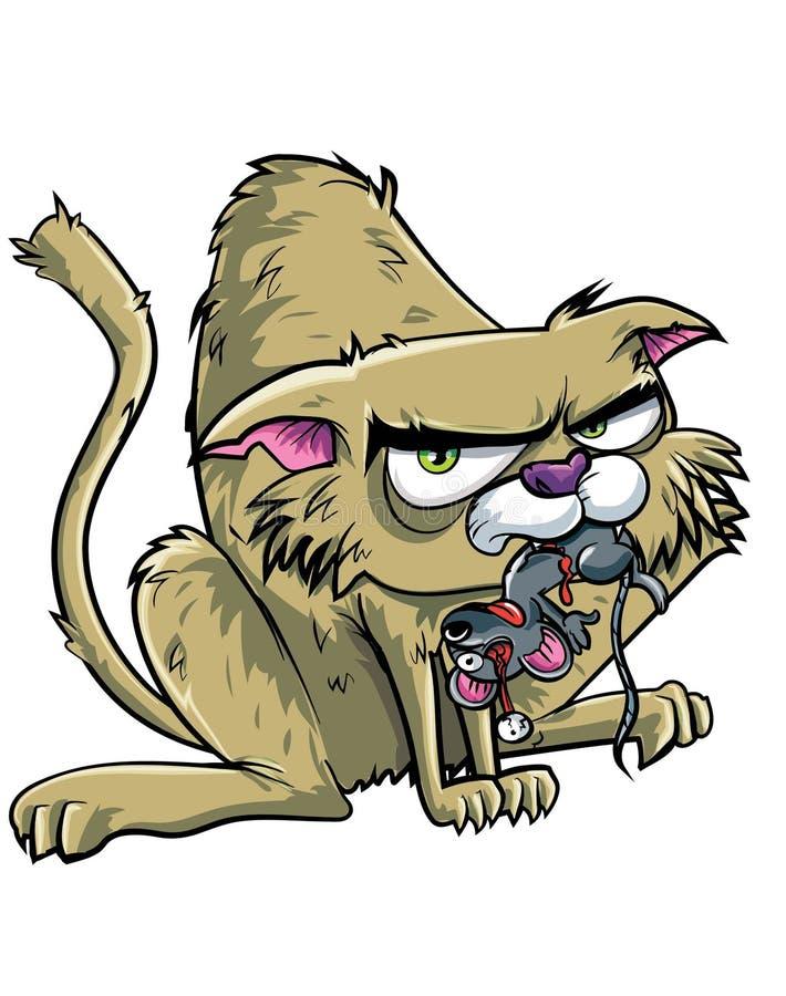 Tecknad filmkatten har fångat en mus royaltyfri illustrationer