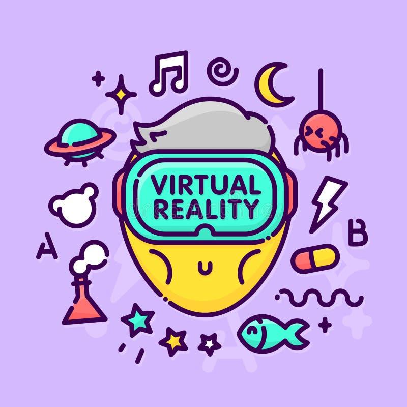 Tecknad filmkawaiitecken med vektorn för grej för virtuell verklighetexponeringsglashörlurar med mikrofon vektor illustrationer