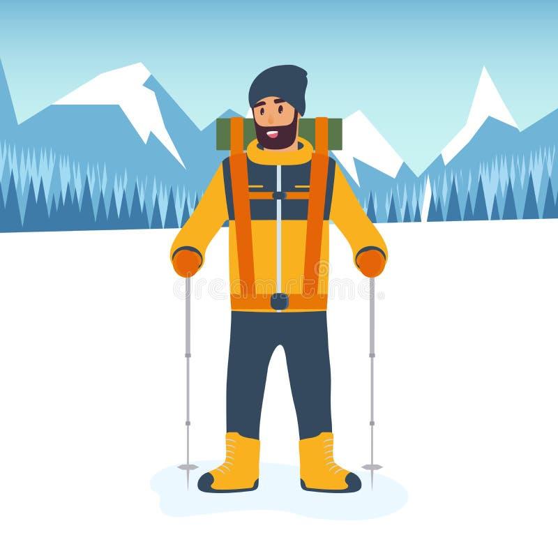 Tecknad filmklättrare med trekking pinnar i hand och det oavkortade kugghjulet för en vandring i bergen Begreppet av sporten och stock illustrationer