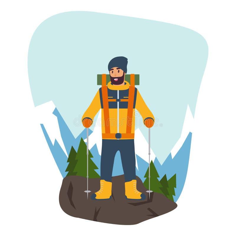 Tecknad filmklättrare med trekking pinnar i hand och det oavkortade kugghjulet för en vandring i bergen Begreppet av sporten och royaltyfri illustrationer