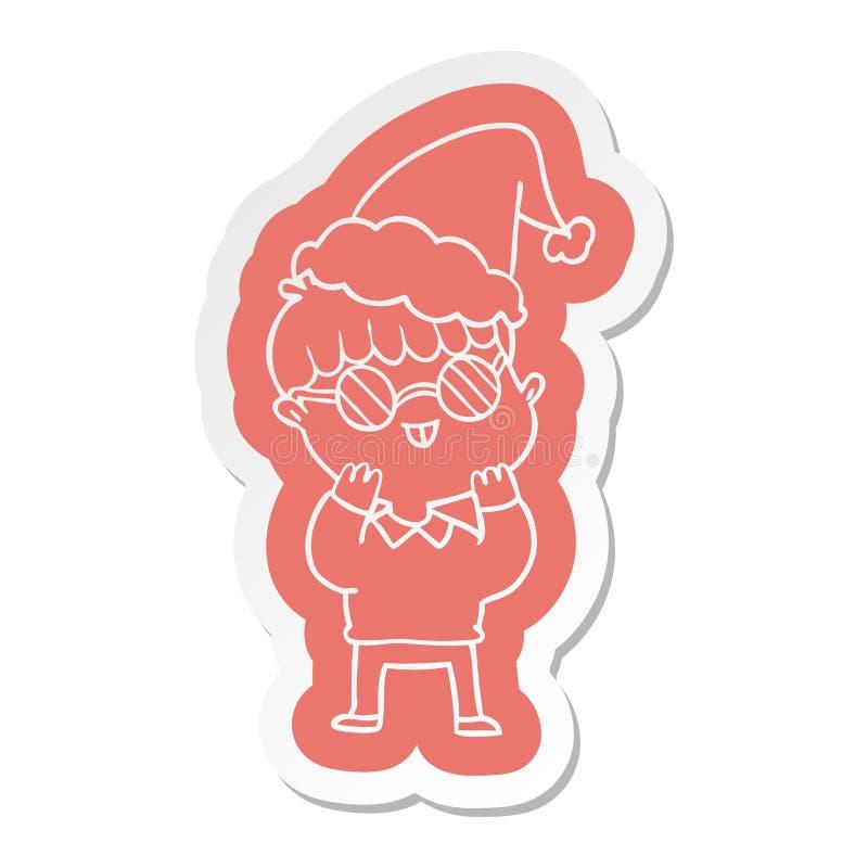 tecknad filmklisterm?rke av b?rande anblickar f?r en pojke som b?r den santa hatten royaltyfri illustrationer