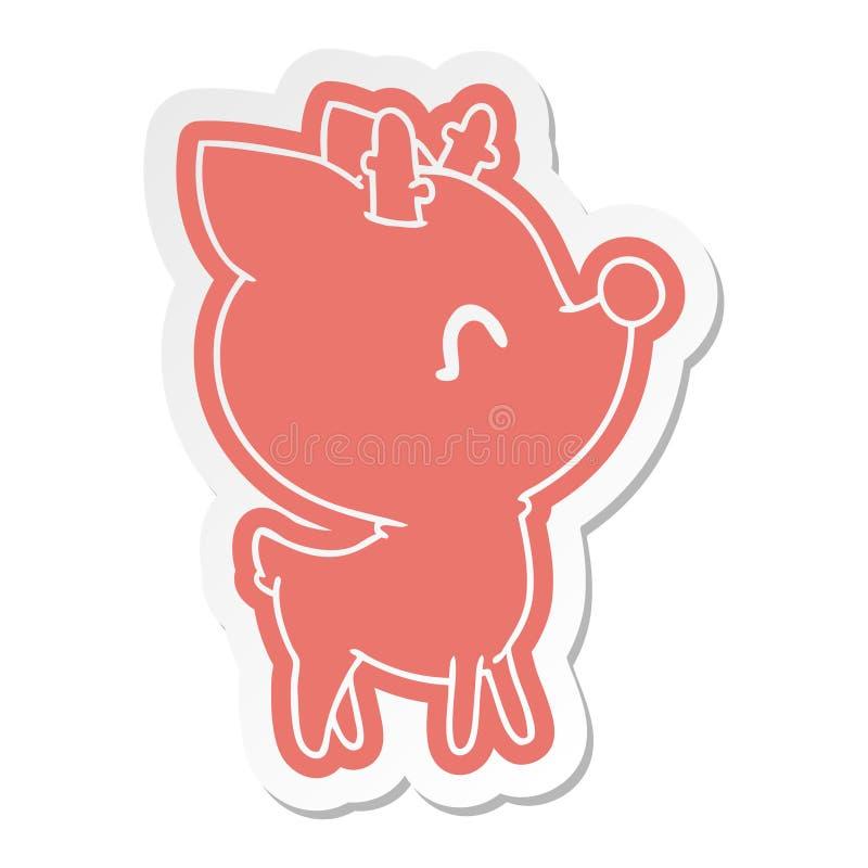 tecknad filmklisterm?rke av gulliga hjortar f?r kawaii royaltyfri illustrationer