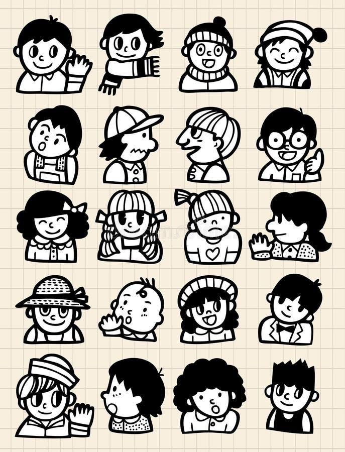 tecknad filmklotterfolk vektor illustrationer