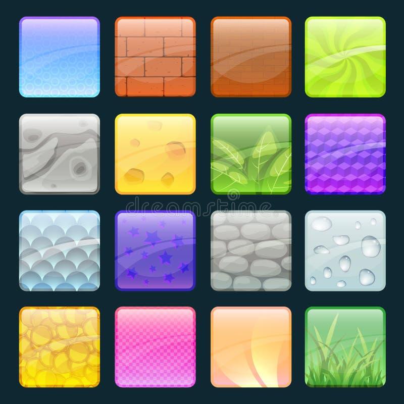Tecknad filmknappuppsättning med olika texturer Vektorbeståndsdelar för modig design stock illustrationer