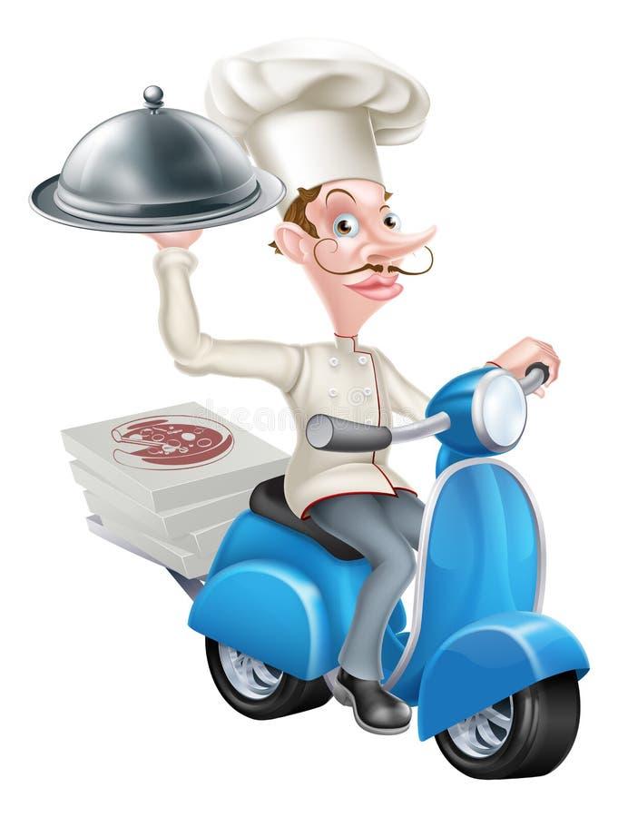 Tecknad filmkock på den var nedstämd sparkcykeln leverera mat royaltyfri illustrationer