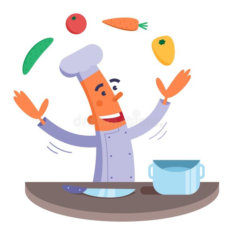 Tecknad filmkocken jonglerar grönsaker vektor illustrationer