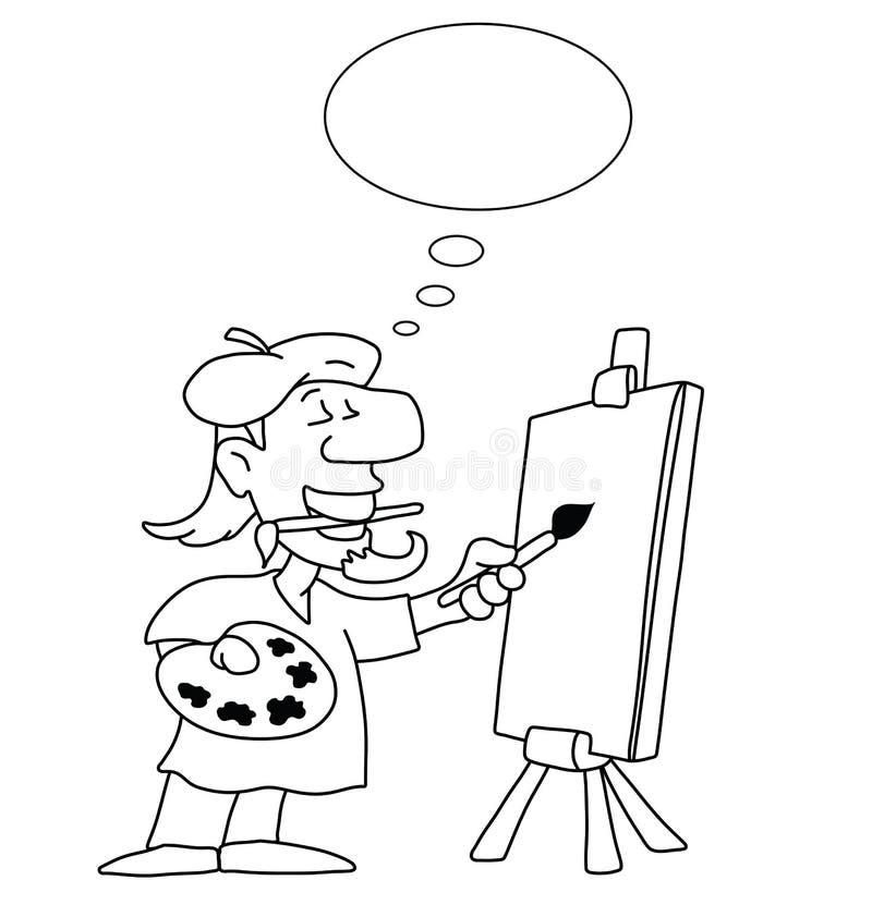 Tecknad filmkonstnär stock illustrationer