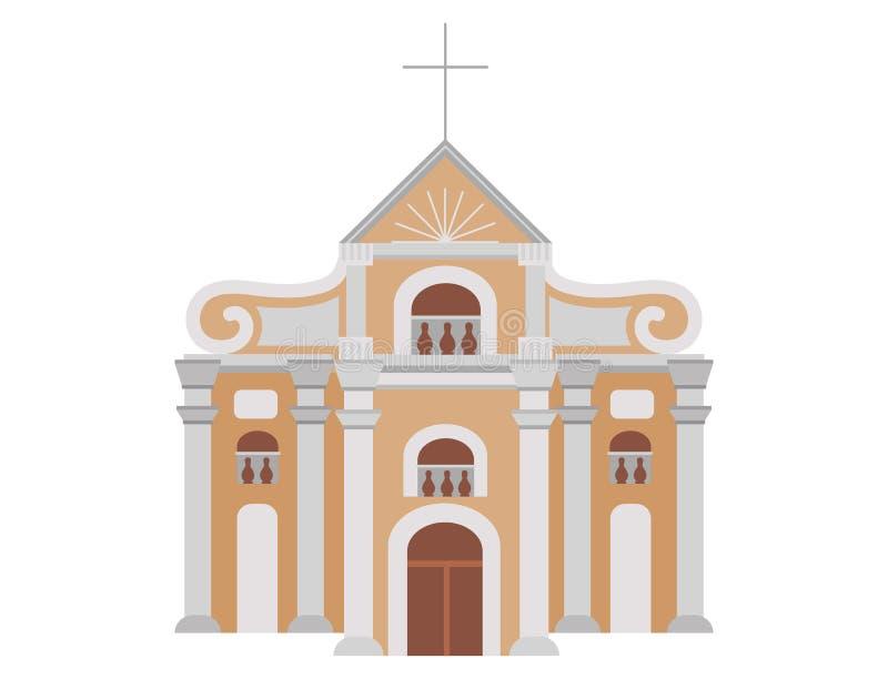 Tecknad filmkonstruktion av katolska kyrkan med symbol av tro stock illustrationer