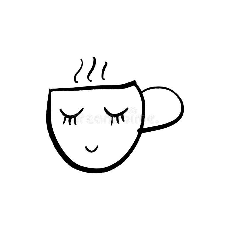 Tecknad filmkopp te eller kaffe för vektor gullig Linjen skissar illustrationen vektor illustrationer