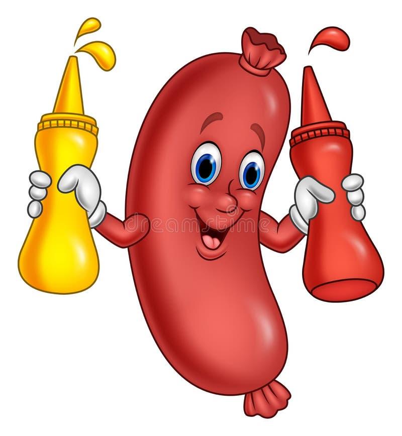 Tecknad filmkorv med åtstramningflaskor för senapsgult sås och ketchup stock illustrationer