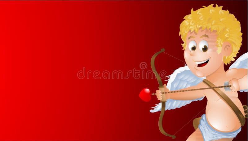 Tecknad filmkupidon som visar en tom röd bakgrund stock illustrationer
