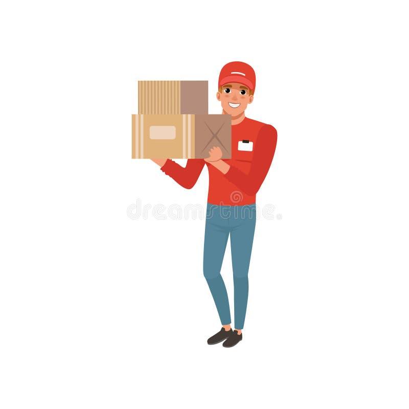 Tecknad filmkurirtecken som rymmer två kartonger i händer Gladlynt ung man i rött lock, tröja och jeans vektor illustrationer