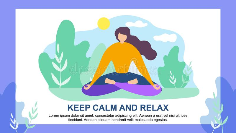 Tecknad filmkvinna i Lotus Position Keep Calm Relax stock illustrationer