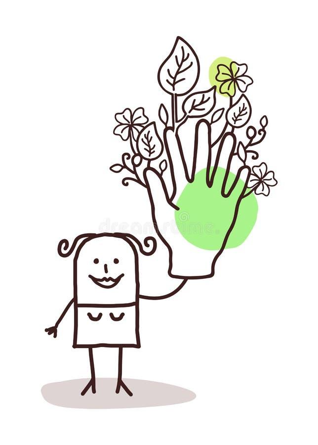 Tecknad filmkvinna med en stor grön hand royaltyfri illustrationer