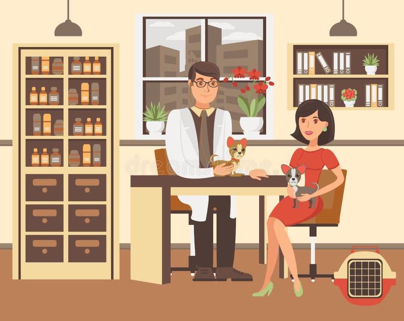 Tecknad filmkvinna med två hundkapplöpning på kabinettet stock illustrationer