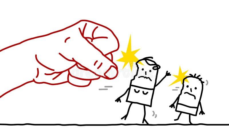 Tecknad filmkvinna och barn - agression vektor illustrationer