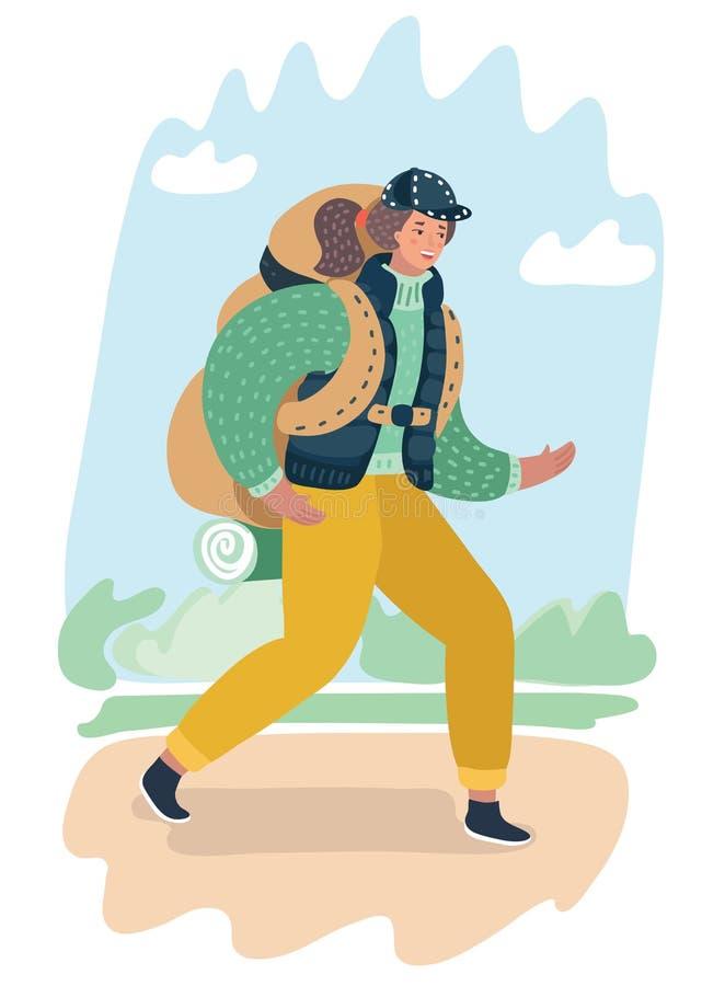 Tecknad filmkvinna som går för en vandring vektor illustrationer