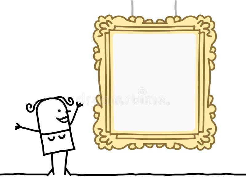 Tecknad filmkvinna som håller ögonen på en tom ram royaltyfri illustrationer