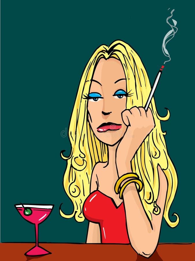 Tecknad filmkvinna som röker på stången vektor illustrationer