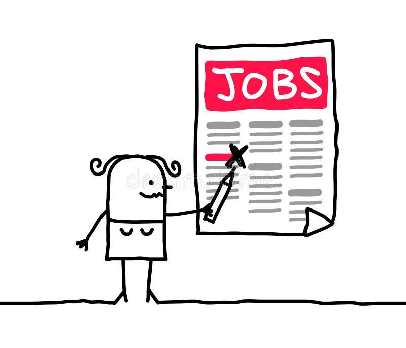 Tecknad filmkvinna som söker efter ett jobb stock illustrationer