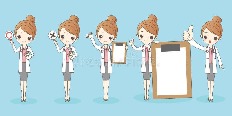 Tecknad filmkvinnadoktor stock illustrationer