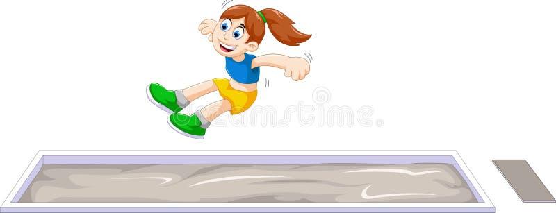 Tecknad filmkvinnaidrottsman nen som gör längdhopp i konkurrensen royaltyfri illustrationer