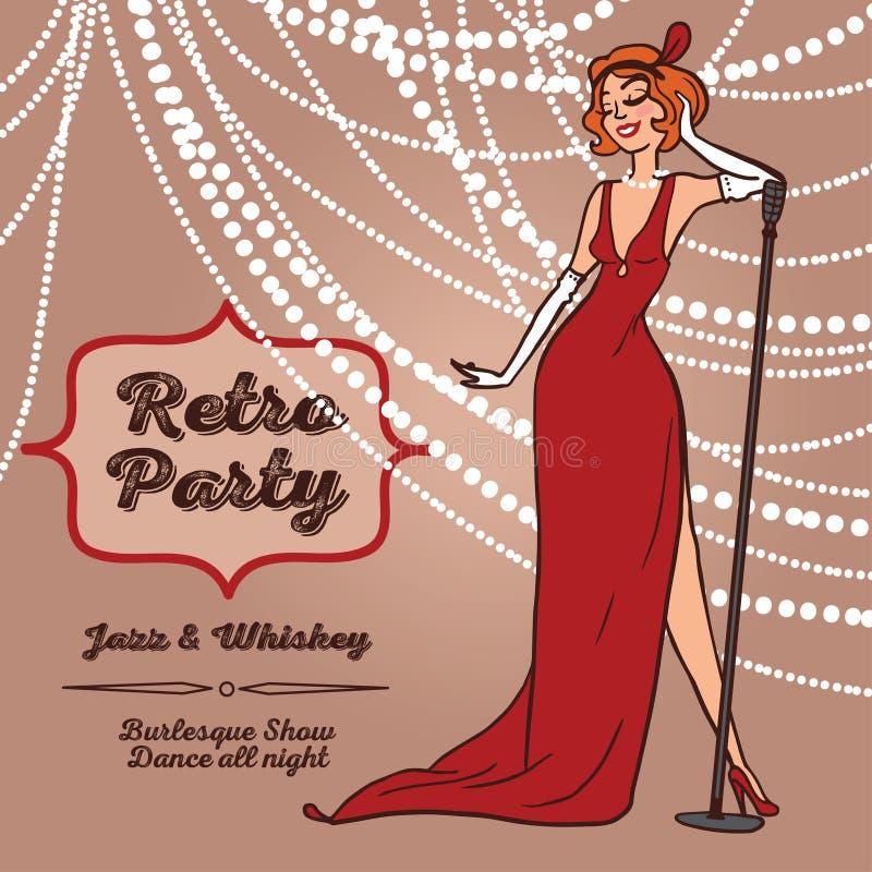 Tecknad filmkvinnor i sjungande jazzmusik för retro stil vektor illustrationer