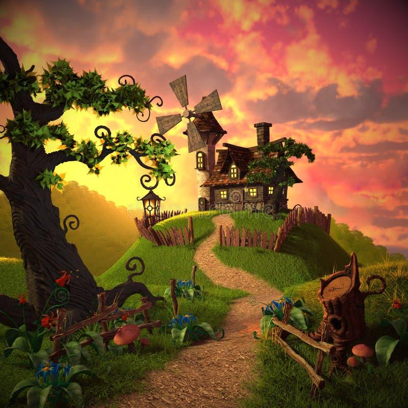 Tecknad filmlandskap med en bild av ett hus och en väderkvarn, såväl som växter och trä royaltyfri illustrationer