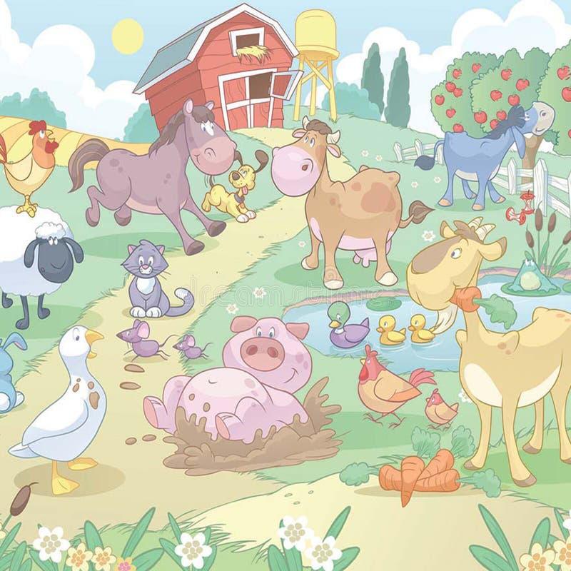 Tecknad filmlantgårddjur stock illustrationer