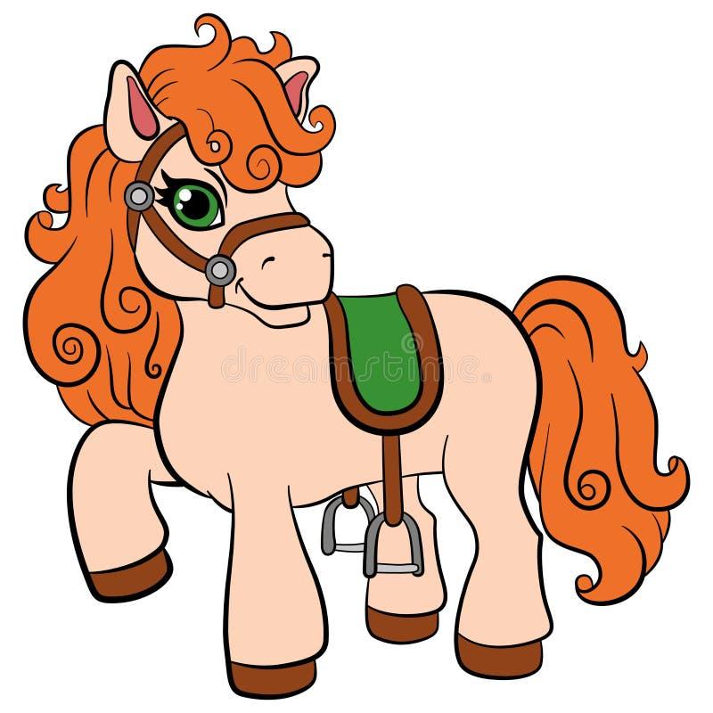 Tecknad filmlantgårddjur för ungar Liten gullig ponny stock illustrationer